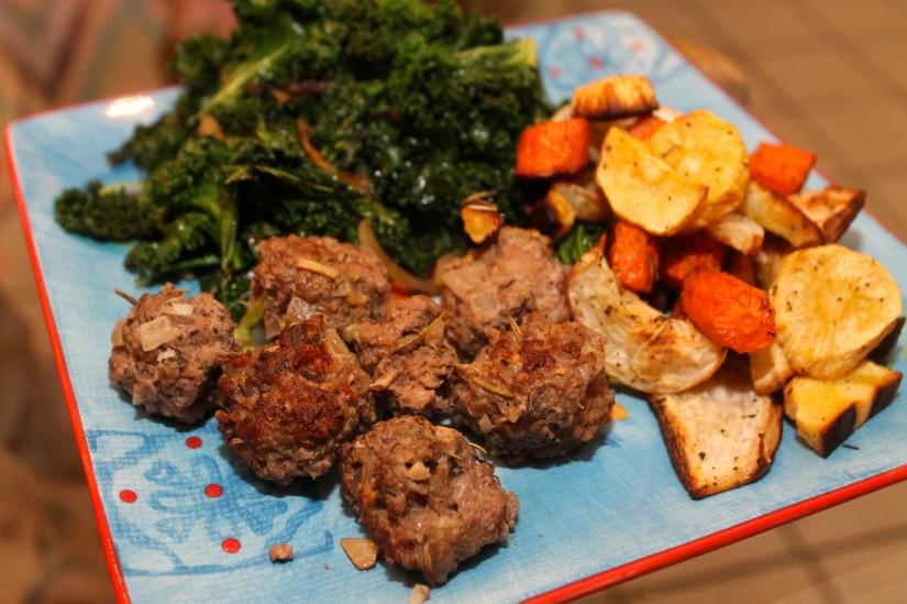 herby lamb meatball dinner