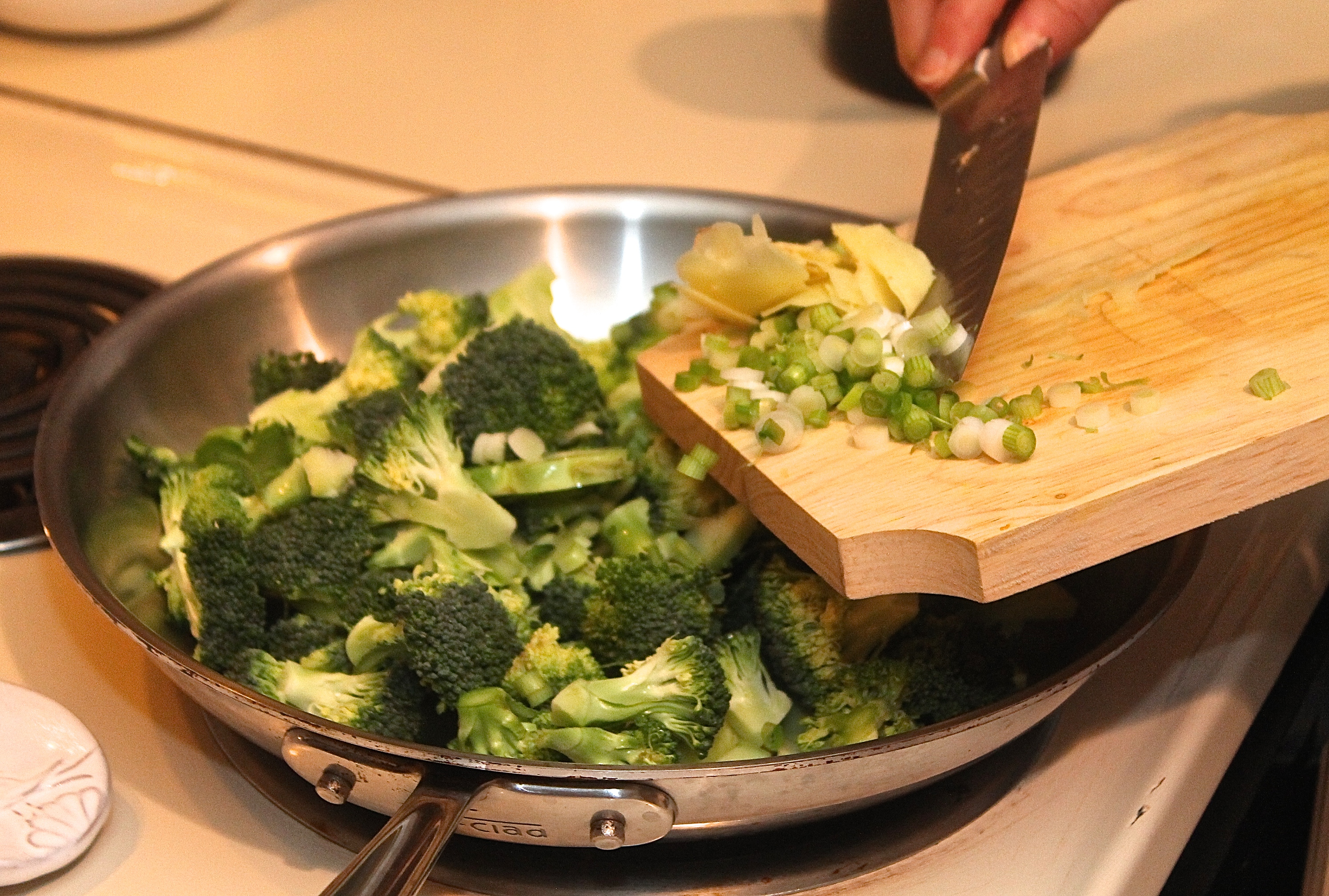 add ingredients to the pan