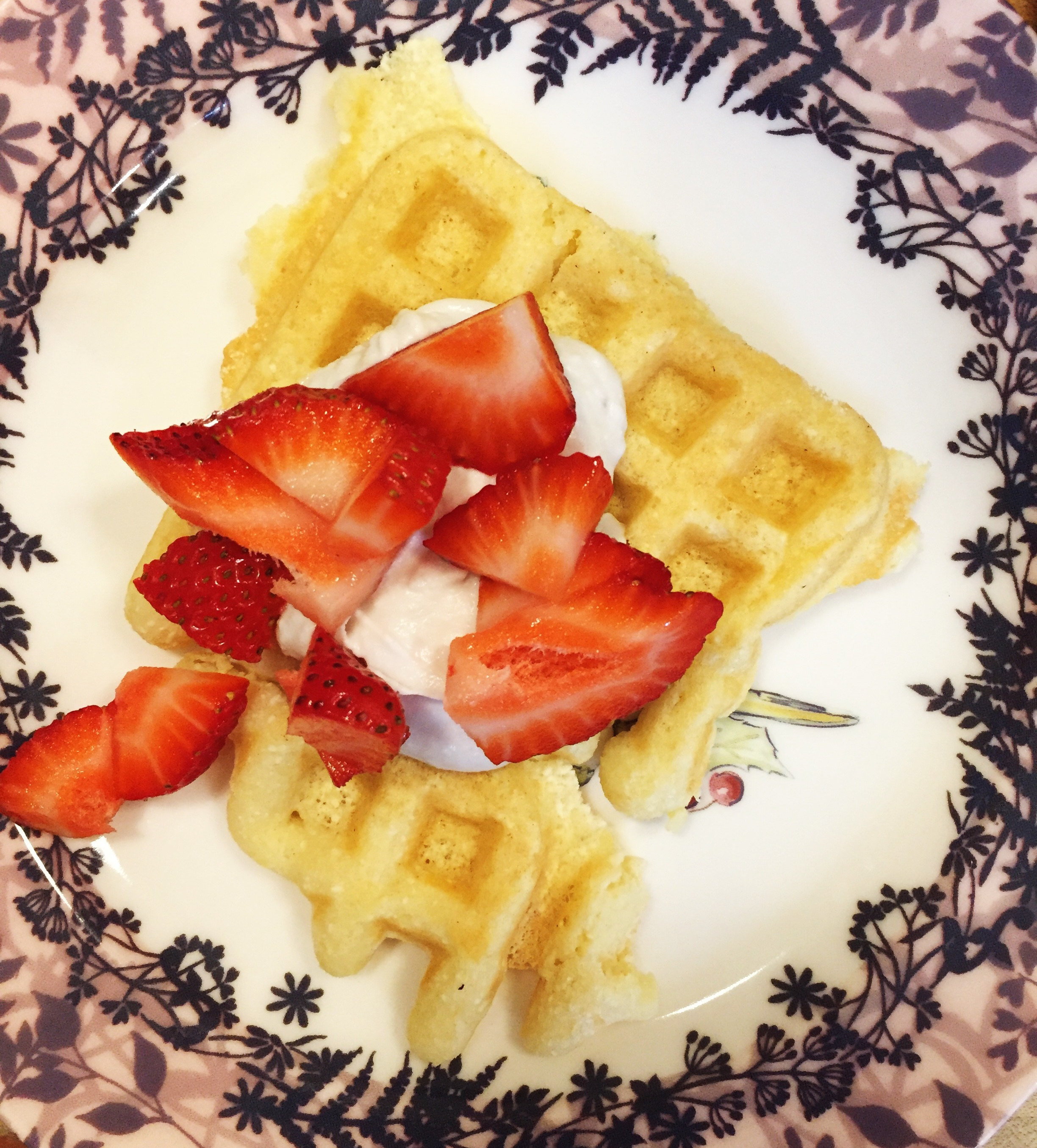 dairy-free whipped cream with strawberries and waffles